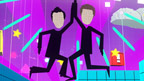 Cartoon Dick and Dom in a colourful game like world.