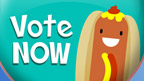 A 'vote now' button that features a cartoon hot dog.