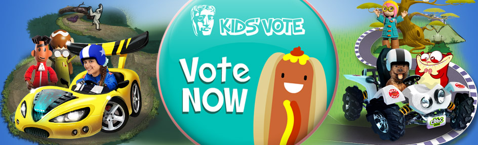 Loads of CBBC characters behind a 'vote now' button that features a cartoon hot dog.