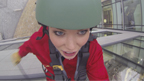 Lindsey abseiling off the BBC building in Salford
