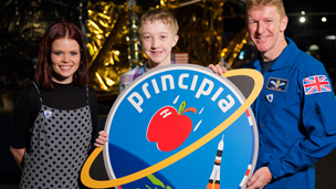 Mission patch compeition winner Troy with Lindsey and Tim Peake
