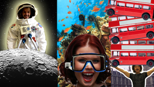 Barney in a spacesuit, Lindsey under water and Radzi lifting London buses