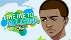 A boy looking upset and the Bye Bye Bullying logo.
