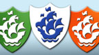 A row of Blue Peter badges