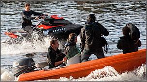 Blue Peter presenter Barney Harwood on a jet ski in water