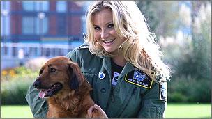 Blue Peter presenter Helen Skelton with pet dog Barney
