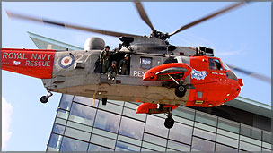 A helicopter landing at MediaCityUk in Salford