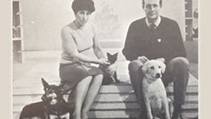 Blue Peter Family in 1964 - Valerie, Christopher, Honey, Petra the dog and Jason the cat