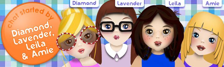 Cartoon drawings of DiamondFizzyHobbit, JadeLaughingBear, LavenderWhirlingBear and PearlActingWombat.