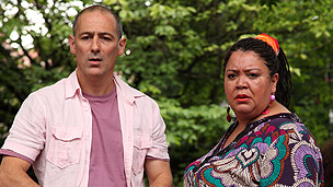 Gina and Mike looking shocked at the Dumping Ground protest.