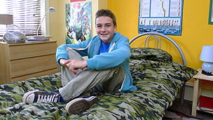 Johnny in his bedroom.