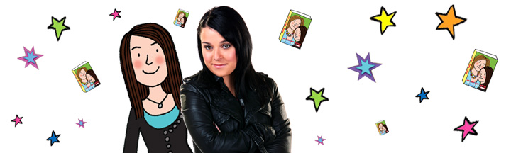 Tracy Beaker with an illustrated version of herself.