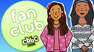 A fan club badge and illustrations of dumping ground characters.