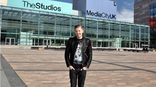 Professor Green outside MediaCityUK.