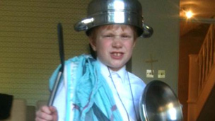 Toby as a Roman soldier
