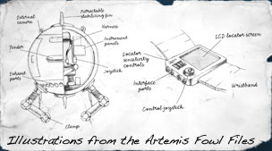 Illustrations of Foley's gadgets from Artemis Fowl