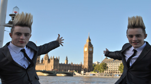 Jedward pointing to Big Ben.