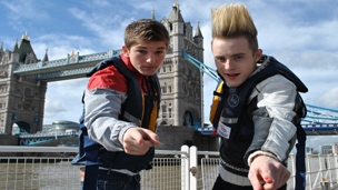 Jedward and Richard Wisker at Tower Bridge.