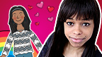 Leanne Dunstan (Faith from The Dumping Ground) next to her cartoon version.