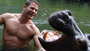 Steve with a hippo.