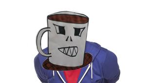 A tea cup head stuck onto Chris' face.