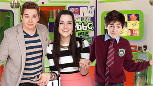 Nick James, Chris Johnson and Shannon Flynn in the cbbc office.