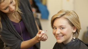 Georgia getting her make-up done