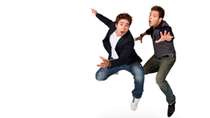 Sam and Mark jumping in air