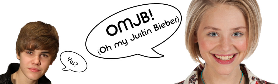 "Sadie J with a speech bubble that reads ""OMJB"""