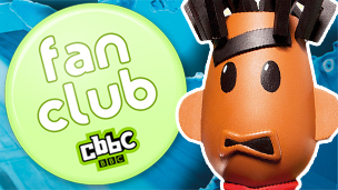 The CBBC fan club badge next to Becky, Mitchell and Templeton