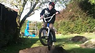 A boy on a BMX