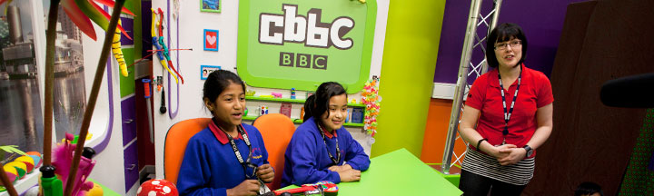 Two children in the CBBC office