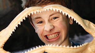 A young man grining through a shark's jaw bones.