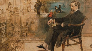 A painting of Charles Dickens.