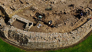 An airel view of the archaeological site of the Roman Vindolanda.