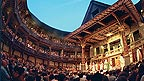 The interior of Shakespeare's Globe theatre, with full audience and a play ongoing.