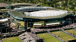 An airel view of Wimbledon Lawn Tennis Club with centre court