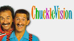 Paul and Barry Chuckle with ChuckleVision logo.