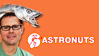 Stefan Gates with a wet fish on his head and Gastronuts logo.