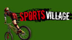 A mountain biker and the Sports Village logo.