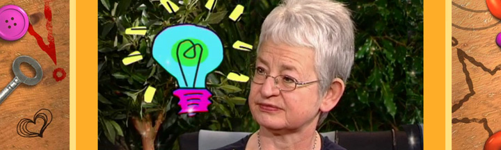 Image of Jacqueline Wilson with a cartoon lightbulb.