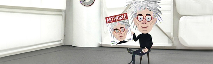 A cartoon Andy Warhol