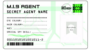 MI9 Secret Agent ID Card with spaces for your name, details and photo.
