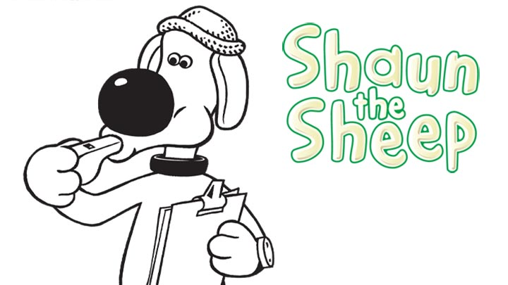 Shaun the Sheep colour in of Bitzer the Dog.