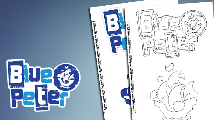 The Blue Peter logo next to the two print outs of a colour in Blue Peter logo and a full colour blue peter logo and the Blue Peter ship logos.
