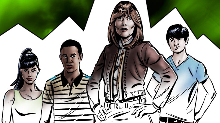 Half coloured drawing of Rani, Clyde, Sarah Jane and Luke standing in line.