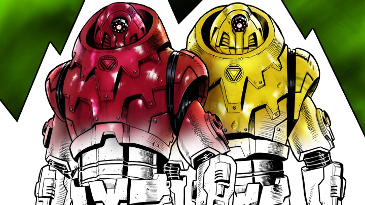 Half coloured drawing of Robots.