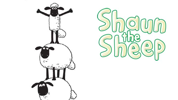Black and white Shaun the Sheep standing at the top of a tower of sheep.