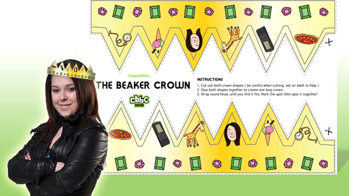 Tracy Beaker wearing the paper princess crown with the crown printout.