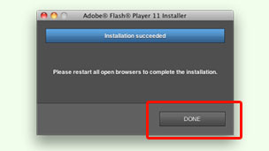 Flash install completed dialog box.